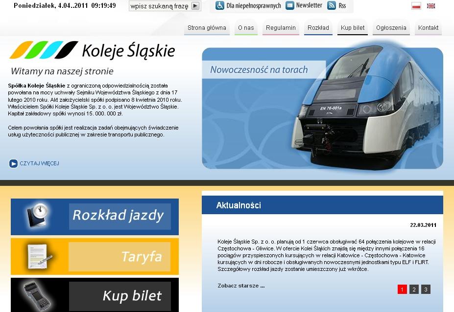 Koleje Śląskie w internecie