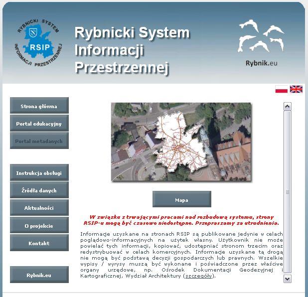 """Działanie 2.2 Projekt """"Rybnicki System Informacji Przestrzennej"""""""