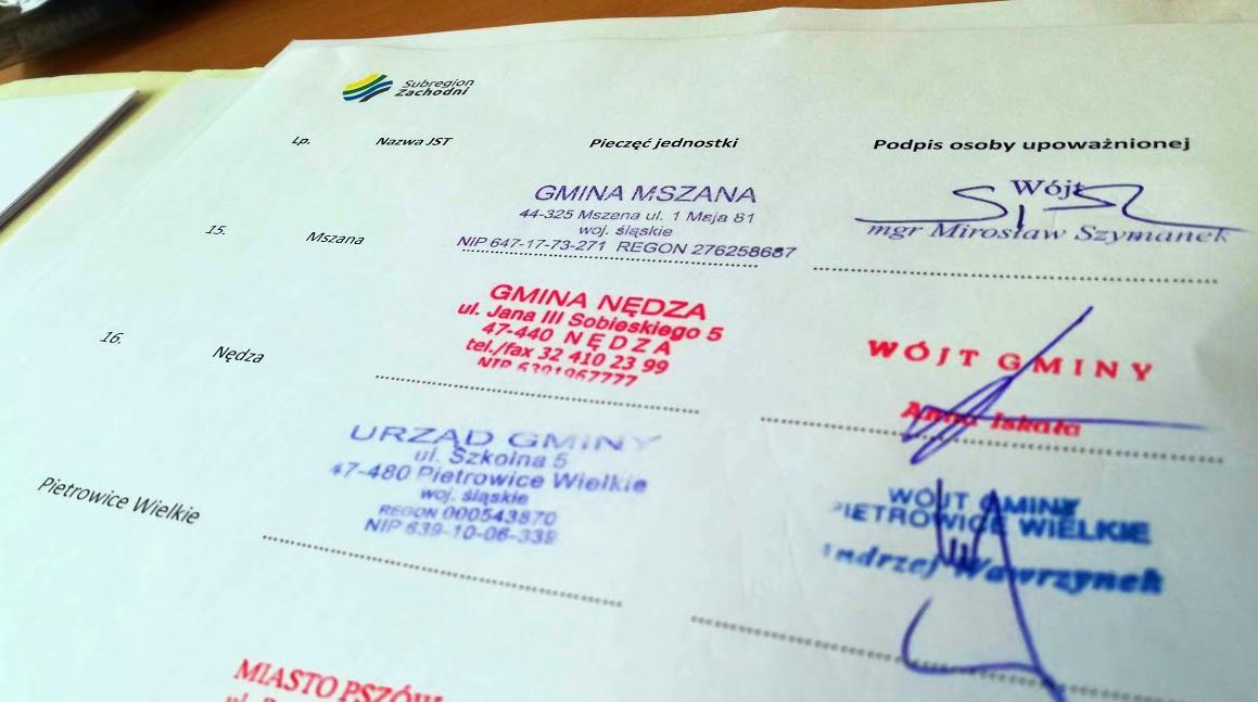 List intencyjny - podpisy